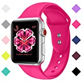 For Apple Watch Band 38mm 42mm, Sport Bands Soft Silicone Replacement Straps for iWatch Apple Watch Series 3,2,1- S/M M/ Pink