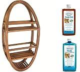 Patented Moa Oval Teak Shower Organizer & AquaTeak Two-Step Care Kit