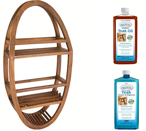 AquaTeak Patented Moa Oval Teak Shower Organizer Two-Step Care Kit from AquaTeak
