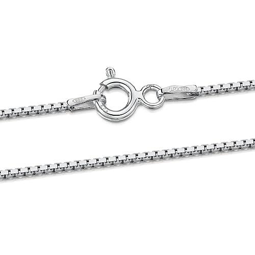 f6d530a28996 Amberta® JoyerÃa - Collar - Fina Plata De Ley 925 - Cadena de Eslabón  Cuadrado