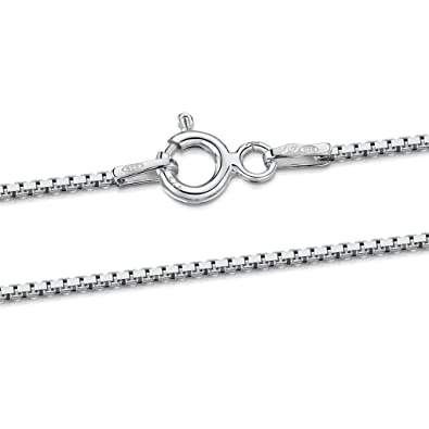 Amberta 925 Sterling Silver 1.0 mm Venice Box Chain Necklace 14