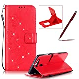 Wallet Case for Huawei P9,Strap Portable Leather Case For Huawei P9,Herzzer Stylish Bling Diamonds Red Butterfly Embossed Pu Leather Purse Pouch Magnetic Closure Flip Folio Protective Case