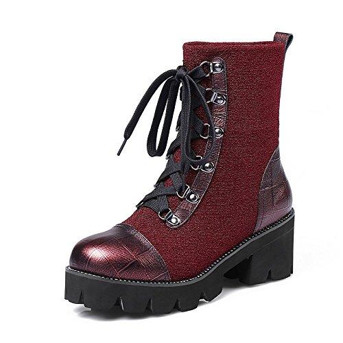 HSXZ Zapatos de mujer Cuero de Nubuck Cuero Tobillo botas de invierno primavera Chunky talón puntera redonda botines/botines para ocasionales de vino negro Wine