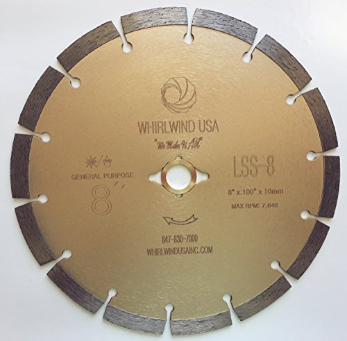 Whirlwind USA LSS 8 in. Dry or Wet Cutting General Purpose Power Saw Segmented Diamond Blades for Masonry Brick/Block Pavers Concrete Stone (Factory Direct Sale) (8