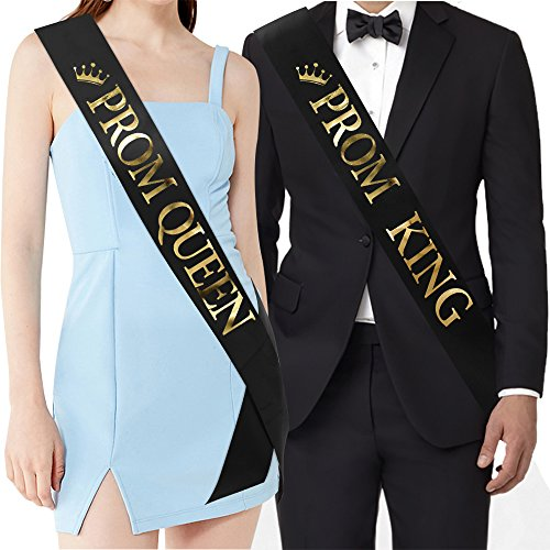 Prom King And Queen (PROM KING And PROM QUEEN Sashes - Graduation Party School Party Accessories, Black with Gold Print)