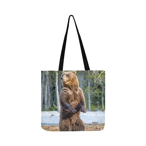 El oso pardo se levanta el bolso de lona Bolso bandolera ...