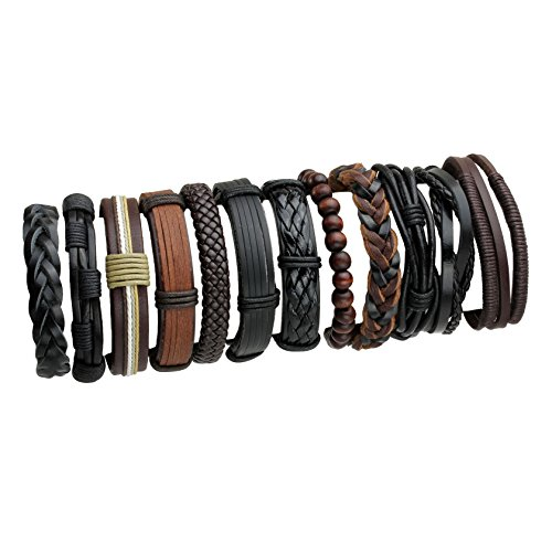 - Eigso 12Pcs Braided Leather Bracelets Set for Men Women Hemp Cords Wooden Beads Adjustable Wrap Bracelets