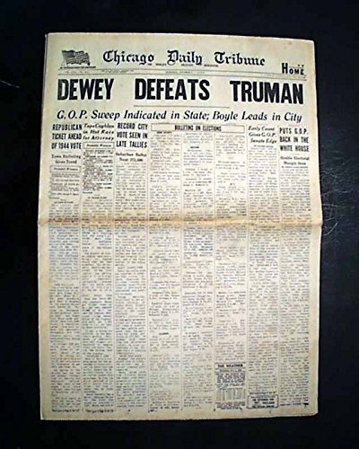 DEWEY DEFEATS TRUMAN Famous 20th Century Headline 1948 Chicago Tribune Newspaper (Entertainment Headline)