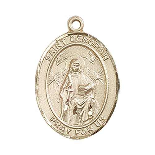 14kt Gold St. Deborah Medal. Includes deluxe flip-top gift box. Medal/Pendant measures 3/4'' x 1/2'' by F A Dumont