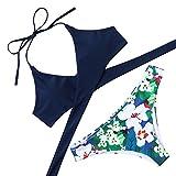 MOOSKINI Womens Push up Bikini Beach Swimsuit Beachwear (Navy Blue Small)