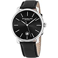 Ascot Mens Black Watch - Swiss Quartz Analog Date Wrist Watch for Men - Stainless Steel Mens Designer Watch with Black Leather Strap 768.02