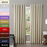 Best Home Back Tab Curtains - TWOPAGES Solid Back Tab / Rod Pocket Polyester Review