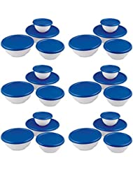 6 Pack Sterilite 07479406 8 Piece Plastic Kitchen Covered Bowl Mixing Set W Lids