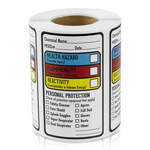 "Right to Know Blank Writeable Sign SDS MSDS Chemical Name HMIG Write-in 2.5"" x 1.5"" Sticker Label for Warning Workplace Personal Check Secure Material Labeling- 300 Labels per roll / 1 roll"