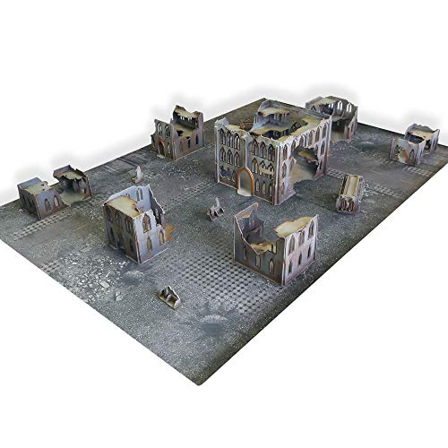 Frontline Gaming - ITC Terrain - Gothic Ruins ITC Standard Set with Mat- Tabletop Miniatures Wargame 28mm Scenery Terrain ()