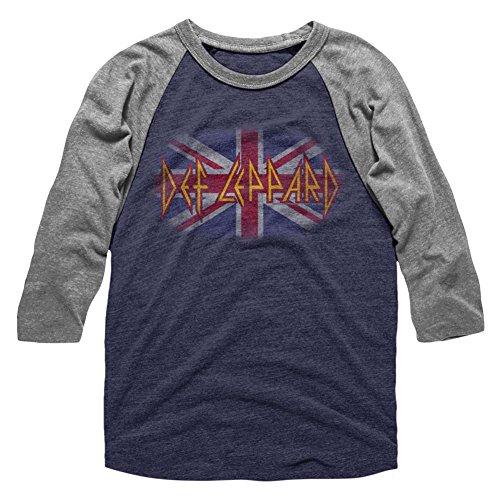 (American Classics Def Leppard Flag Fade Adult 3/4 Sleeve Raglan T Shirt XL)