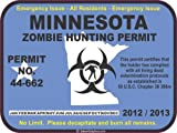 Minnesota zombie hunting permit decal bumper sticker