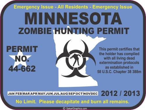 Minnesota zombie hunting permit decal bumper sticker