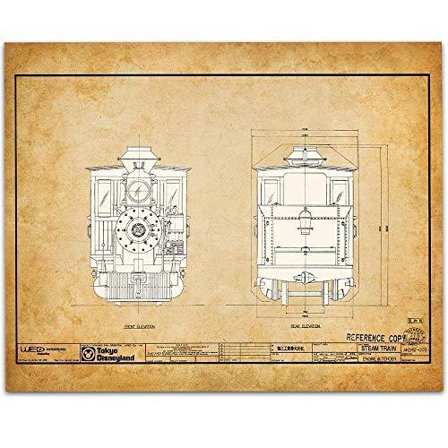 Disneyland Tokyo Railroad Locomotive Blueprint - 11x14 Unframed Patent Print - Great Gift Under $15 for Railfans
