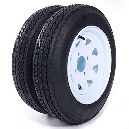 eCustomRim Two Trailer Tires On Rims 4.80-12 480-12 4.80 X 12 LRB 4Lug Wheel White Spoke