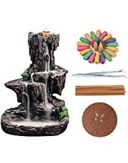 Backflow Incense Holder Handcrafted Waterfall Incense Burner with 120PCS Incense Cones and 30 Incense Sticks for Home Decor Craftwork Longevity Tree Incenser