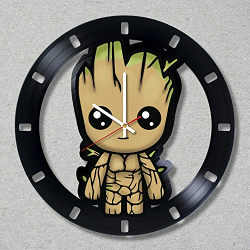 Cheap Vinyl Record Wall Clock With Acrylic Stickers Groot Guardians of the Galaxy Decal decor unique gift ideas for friends him her boys girls World Art Design