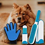 cat hair furniture brush - Pet Lint and Fur Remover - Hair remover Brush and Grooming Deshedding Glove with Self-Cleaning Base Double-Sided Brush Removes Dog & Cat Hair from Clothes & Furniture