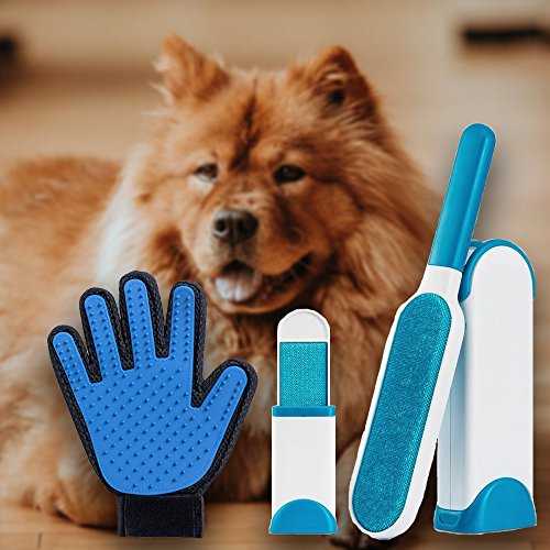 Pet Lint and Fur Remover - Hair remover Brush and Grooming Deshedding Glove with Self-Cleaning Base Double-Sided Brush Removes Dog & Cat Hair from Clothes & Furniture