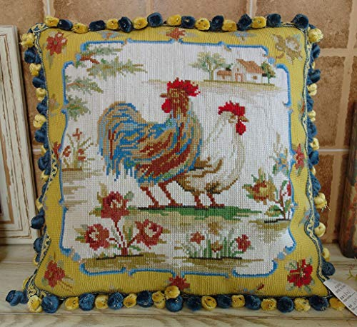 "Fine Home Crafts 16"" Beautiful Colorful Country Life Hand Crafted Rooster Hen Needlepoint Pillow"