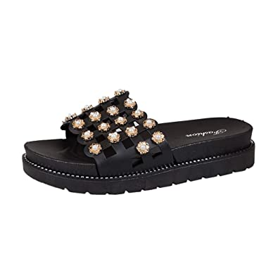 2c3f6649032e3 DENER❤ Women Ladies Summer Flatform Sexy Slippers, Jeweled Hollow ...