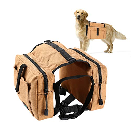 Fuaojia Dog Backpack,Travel Camping Hiking Pack Saddle Bag,Hound Rucksack for Dog for Hiking Walking Camping (Khaiki)