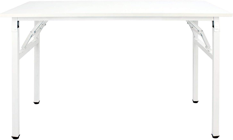 sogesfurniture Tavolo Pieghevole 100x60cm Scrivanie Computer Scrivanie Studio Ufficio Postazioni di Lavoro Tavolo Scrivania PC Moderno in Acciaio Legno Bianco AC5W-100-SF