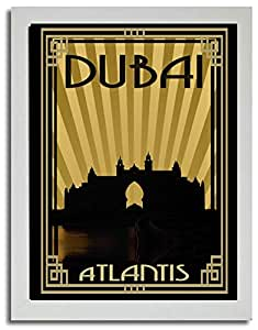 Atlantis - Sepia With Gold Border F03-m (a4) - Framed