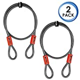 BV 4FT Security Steel Cable, Double Looped Flex Lock Cable 3/8 Inch, for U-Lock, Padlock, and Disc Lock (Set of 2)