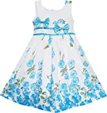 EY72 Girls Dress Blue Flower Double Bow Tie Party Summer Camp Size 6 Years