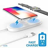 Apple Watch Charger,Belker Qi-Standard 2 in 1 Wireless Fast Charger to Power Your New iPhone and Apple Watch Simultaneously,Design for iPhone X/8/8 Plus and Apple Watch,Samsung Series