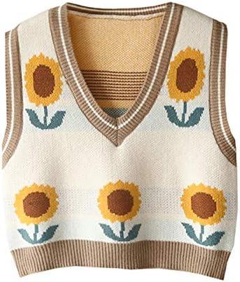 Argyle Sweater Vest Women y2k Plaid Knitted Streetwear Preppy Style V Neck Crop Knitwear Tank Top for Girl