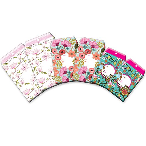 Large Bow Floral Ships (Jillson Roberts 6-Count Tyvek Padded Mailer Shipping Envelopes Available in 8 Different Assortments, Assorted Sizes and Designs, Fanciful Florals)