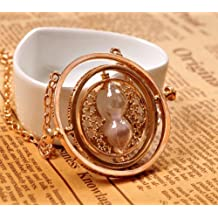 Salesland Harry Potter Time Turner Hourglass Pendant Necklace Hermione Granger Rotating Spins Gold Plated Lover's Jewelry