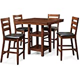 New – Dalton Park 5-Piece Counter Height Dining Set, Mocha For Sale