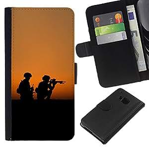 All Phone Most Case / Oferta Especial Cáscara Funda de cuero Monedero Cubierta de proteccion Caso / Wallet Case for HTC One M9 // soldaty oruzhie armiya