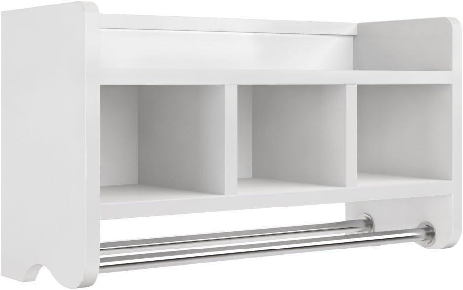 Alaterre Furniture Logan Bath Storage Shelf with Two Towel Rods, 25