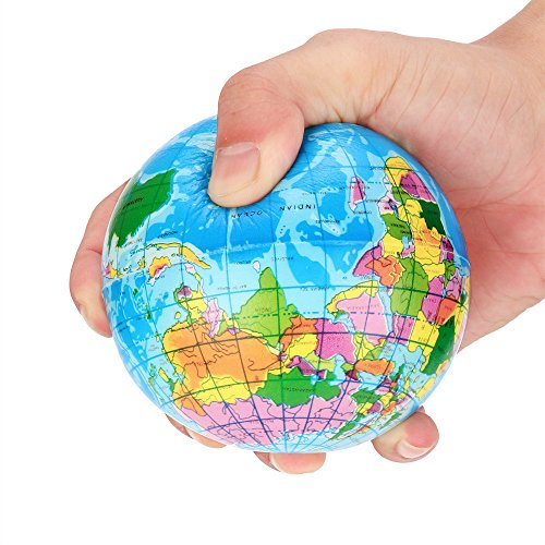 World Map Foam Ball Decompression Toy, Stress Relief World Map Foam Ball Atlas Globe Palm Ball Planet Earth Ball (Blue 76mm)