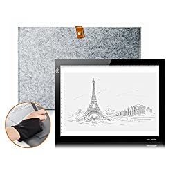 Huion L4S LED Light Pad Ultra-thin USB Power 6000--7000K Tracing light box Light Pad with Wool Liner Bag and Two Finger Glove for Artcraft Tracing