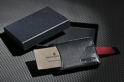 Tocco Toscano Men's Black Leather Bifold Wallet, RFID Tech and Money Clip Design