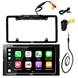 JVC KW-V420BT 7' Inch Double DIN Car CD DVD USB Bluetooth Stereo Receiver Bundle Combo With Car License Plate Frame Rear View Colored Backup Parking Camera, Enrock 22' AM/FM Radio Antenna