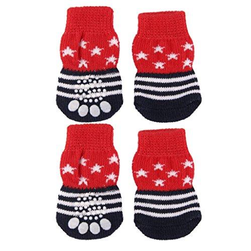 Set Hardware Slipper (Pet Dog Puppy Cat Shoes Slippers Non-Slip Socks Star Stripes w/ Paw Prints M)
