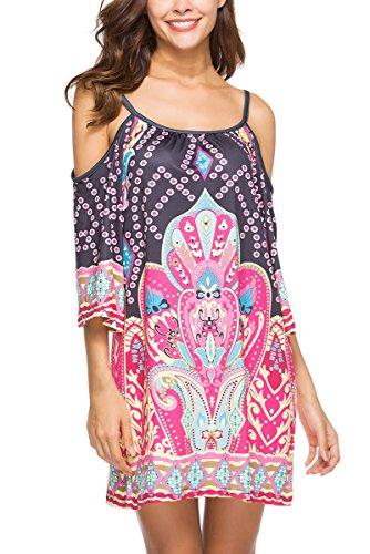 Anatoky Womens Cold Shoulder Spaghetti Strap Tribal Printed Summer Shift Dress,Pattern 6,Medium