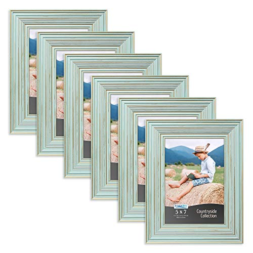 Icona Bay 5x7 Picture Frames (6 Pack, Eggshell Blue), Picture Frame Set, Wall Mount or Table Top, Set of 6 Countryside Collection
