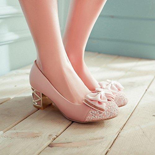 Mee Shoes Damen mit Schleife chunky heels Pumps Pink